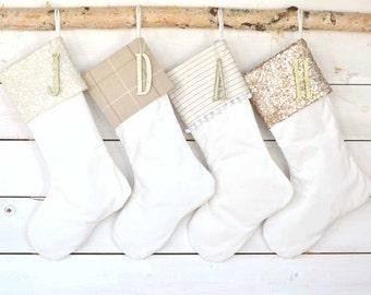 Set of 4 Velvet Stockings, Christmas Stockings - Stockings, Monogrammed Stockings, Sequins Stockings, Stocking Set