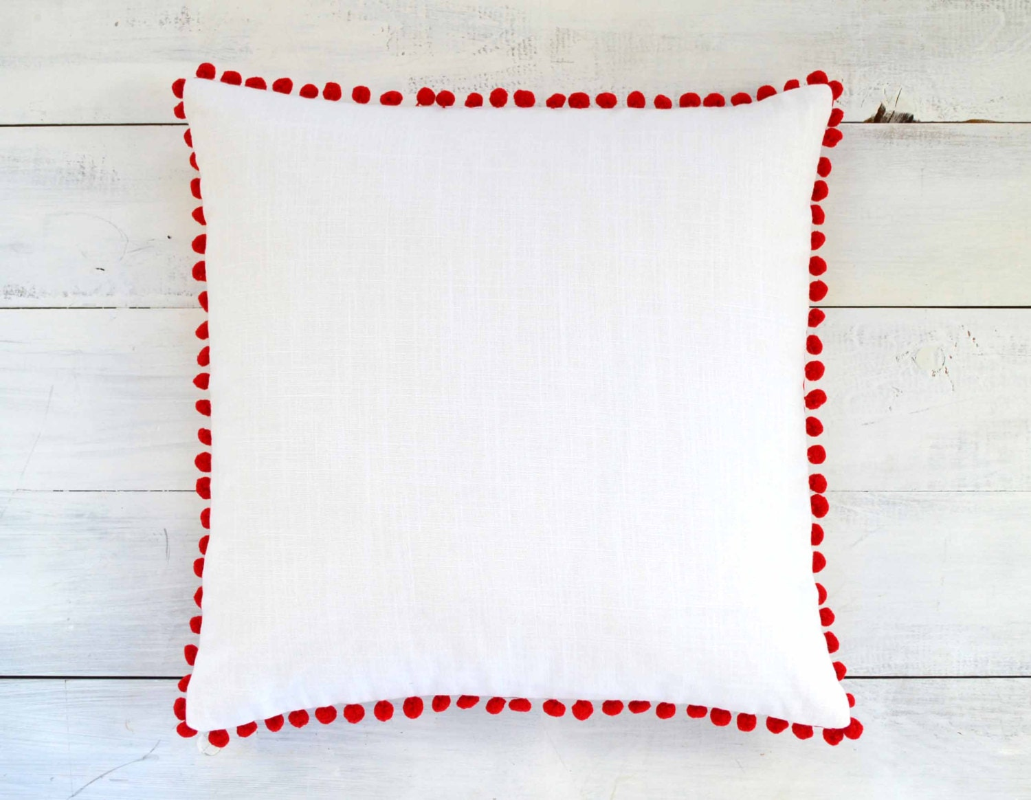 White and Red Pom Pom Pillow Cover - Linen Look - 20 x 20 - Decorative Pillow, Throw Pillow, Red ...