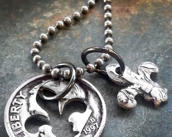 1997 21st Birthday Dime Fleur de lis Necklace 21st Anniversary 21st Birthday Gift Coin Jewelry made from a 1997 Dime