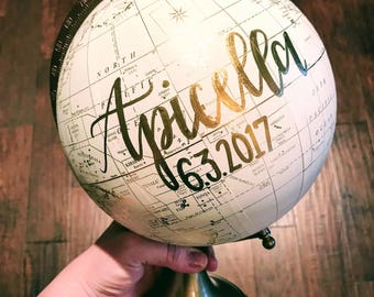 Customize Me! Wedding Guestbook Globe, Custom globe, calligraphy globe, hand lettered globe, white and gold globe, quote globe, guestbook