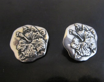 CLIFTON NICHOLSON Sterling Silver Modernist HIBISCUS Flower Clip-On Earrings