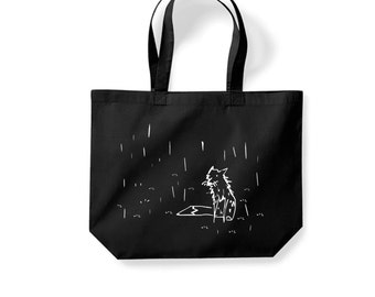 Black fox tote, minimal shopping bag, small gift, cool present