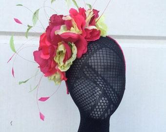 50% OFF Green amd Pink Flower Feather Explosion Headband