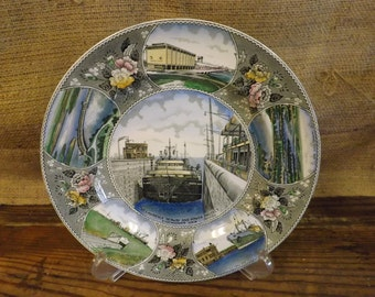 St Lawrence Seaway & Power Project Souvenir Plate Eisenhower Lock Plate