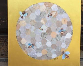 Bee Friends (Original Collage)