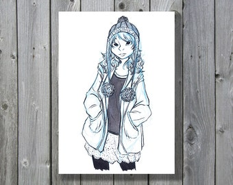 Girl with Pom Hat [Ink and Brush Pen Fashion Art Print]