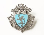 Vintage Silver Tone Brooch with Baby Blue Enamel Lion Coat of Arms Costume Jewelry