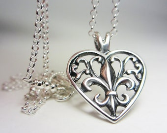 925 Sterling Silver Fleur de Lis Filigree Heart Necklace Lily of France Pendant Fleur de Lis Necklace Filigree Necklace Valentine's Day Gift