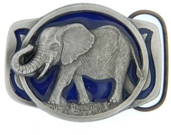 Vintage Large Elephant Belt buckle - 1970s - African Asian Indian - Blue - Gift Idea - Thailand - Tusk - Animal - Save the