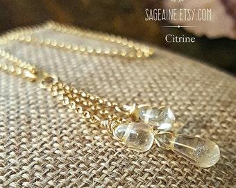 SageAine: Citrine Briolettes Gold Rolo  Necklace, Stone of Abundance, Solar Plexus Chakra, Prosperity Consciousness, Reiki Charged