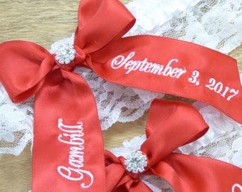 Scarlet Red Wedding Garter, You're Next Bridal Garter, Bridal Garter, Personalized Bridal Garter, Custom Garter, Garter Set, Keepsake Garter