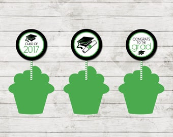 Cupcake Toppers - Graduation - Class of 2017 - Graduation Party - Green Black and White - INSTANT DOWNLOAD - Printable