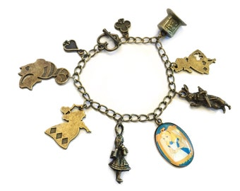 SALE Alice in Wonderland Charm Bracelet