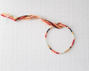 Friendship Bracelet Brown Pink Rose Mustard Orange and Periwinkle Embroidery Threads / Stocking Stuffer
