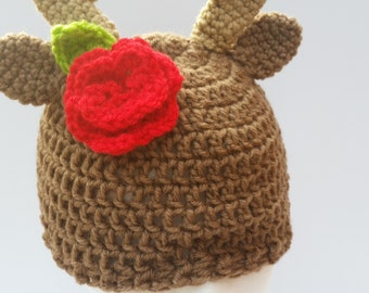 Deer Hat with Flower