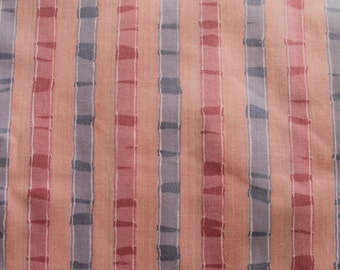 Vintage Polished Cotton Fabric: Pink and Blue Stripe 5.11 Yards