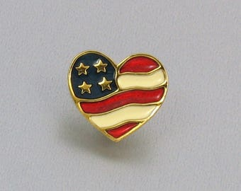Vintage AVON 'Heart of America' Tac Pin (1990). Flag Lapel Pin. Vintage Avon Jewelry. Patriotic Lapel Pin. Stars and Stripes Pin