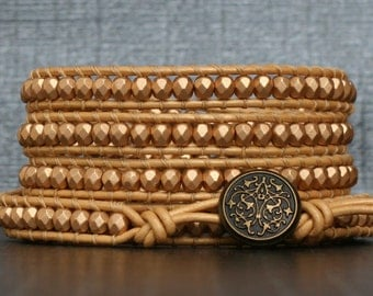 READY TO SHIP soft gold wrap bracelet - champagne gold crystal on pale gold leather - beaded bohemian jewelry
