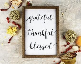 Grateful Thankful Blessed Sign Framed Wood Sign Kitchen Decor Ideas