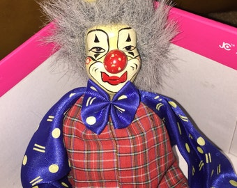 Vintage Long Legs Clown Ceramic & Cloth