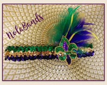 Mardi gras flapper sequin headband