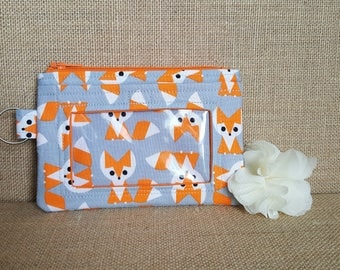 ID Wallet / Keychain Wallet / ID Holder / Organic Cotton / Fox Print