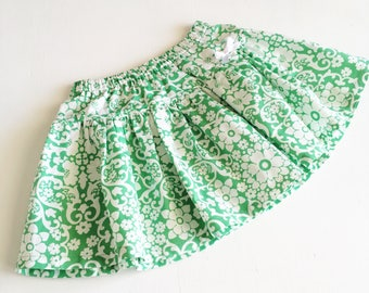 Green and White Floral Twirly Skirt