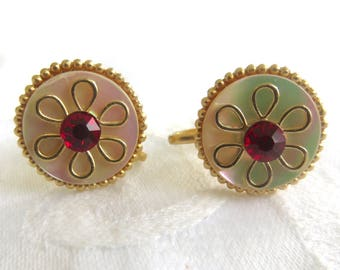 Vintage Coro Earrings, Screwback Mother of Pearl Earrings, Red Rhinestone Center Screwbacks