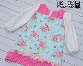 Designer girls dress size 6 - Wings of Love - with long sleeves ADORABLE lace accents