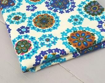 Vintage Fabric Retro Floral Blue Purple