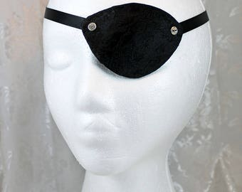 Black Eye Patch, Black Satin Brocade Pirate Eye Patch