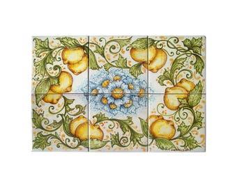 """Pannello in ceramica """"Limoni"""" rettangolare PAN/lim02"""