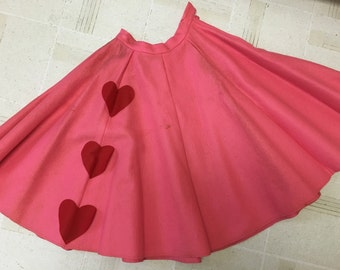 1950's Pink and Red Hearts Felt Poodle Skirt