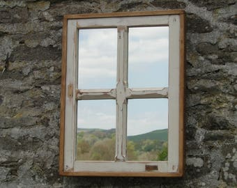 Reclaimed Window Mirror - Distressed four-pane in Rustic Frame
