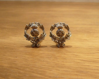 Vintage marcasite thistle clip on earrings