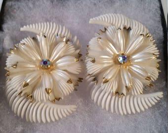 Plastic clip on Germany Flower Earrings.