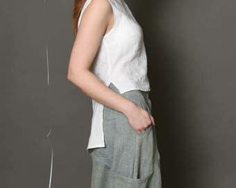 Women summer top | Pure linen top | Linen shirt | Loose fit style | White linen top | Summer t shirt | Women fashion | BengiDesign