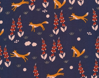 Foxglove Collection - Cloud 9 Organic Cotton -Fox in the Foxgloves Navy - Fabric by the Yard