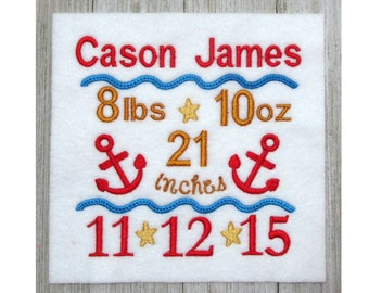 Birth Announcement, Machine embroidery Template, Anchor design, 3 sizes, template only, no names or dates, to be used with  your software