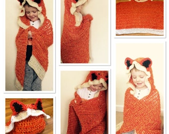 Hooded fox blanket - Child's & Adults sizes