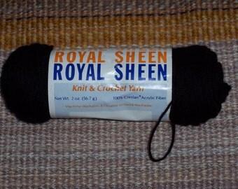 Royal Sheen yarn,2 oz skein,Vintage black,Creslan Acrylic,crochet,knitting, crafts