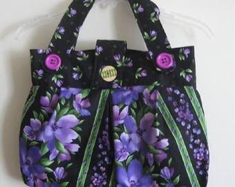 Purple Floral Handbag/Purse/Tote