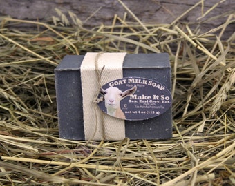 Shades of Goat Milk Soap. Earl Grey Tea Goat Milk Soap. Bergamot Goat Milk Soap. Tea Maineia Goat Milk Soap. Activated Charcoal Soap.