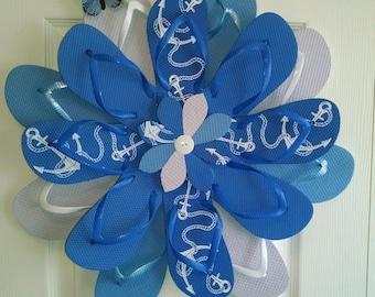 Beautiful Lt. Blue Nautical Flip Flop Wreath Door Wall Decor Coastal Living Gift Beach