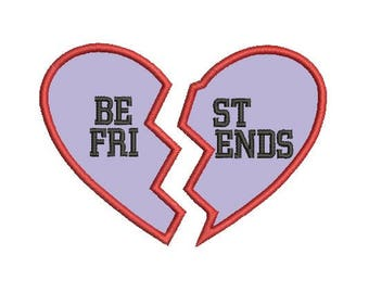 best friends applique embroidery design
