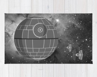 Rogue One Rug, Galactic Empire Throw Rug, Death Star And Tie Fighters Over  Stars