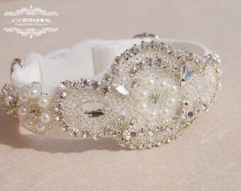 Modern ivory white panne velvet  dog collar,wedding dog collar.party dog collar. Pet Birthday gift. dog party collar