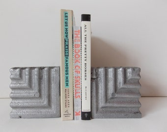 Vintage Geometric Cast Metal Bookends Modern Silver Square Blocks Handmade Home Decor
