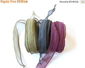 SALE Hand dyed Silk Ribbon for bracelet necklace - Set of 3 - sepia - taupe - blackbrown