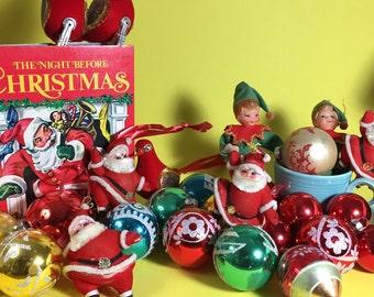Vintage Christmas Ornament Lot, Dancing Santa, Elves, Stencil, Glitter, Birds, 1950's- 70's